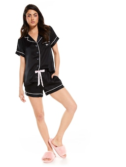 Black Silk Shortie Pj Set