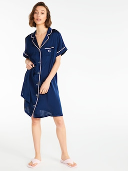 Navy Chic Satin Nightshirt
