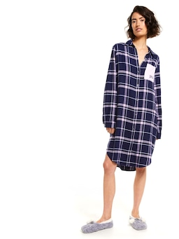 Navy Check Flannelette Nightshirt