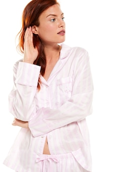 Pink Stripe Pj Set With Eye Mask