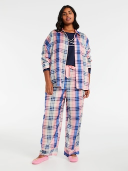 P.A. Plus Check Please Satin Pj Set
