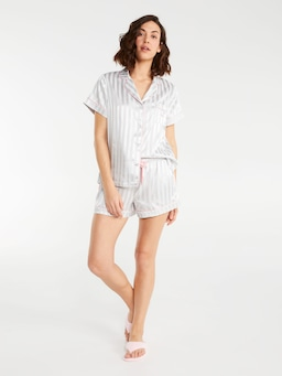 Silver Stripe Chic Satin Pj Set