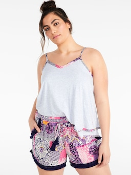 P.A. Plus Mosaic Tassel Edge Short