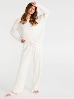 Brushed Rib Wide Leg Pj Pant