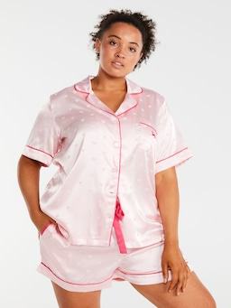 P.A. Plus Heart Satin Jacquard Shortie Pj Set