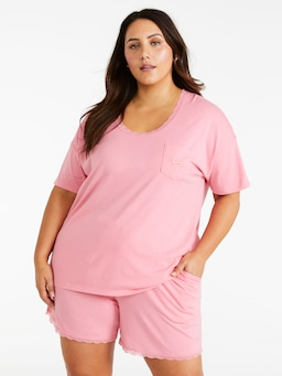 P.A. Plus Pink Lace Trim Oversized Tee