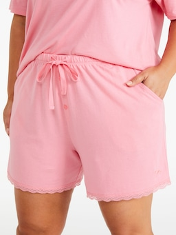 P.A. Plus Pink Lace Trim Mid Short