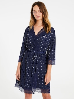 Navy Pinspot Slinky Gown