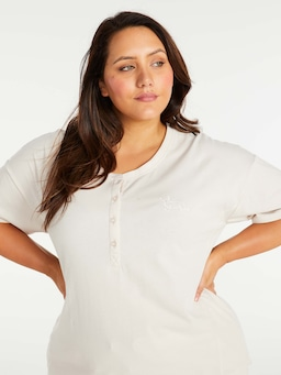 P.A. Plus Cream Short Sleeve Henley Tee