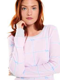 Windowpane Waffle Long Sleeve Top