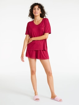 Red Lace Trim Oversized Tee