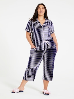 P.A. Plus Navy Stripe 3/4 Pj Pant