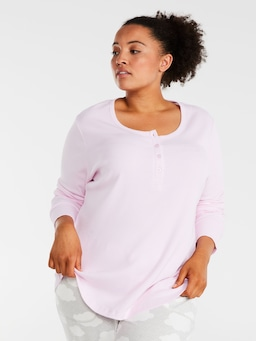 P.A. Plus Classic Long Sleeve Ribbed Henley