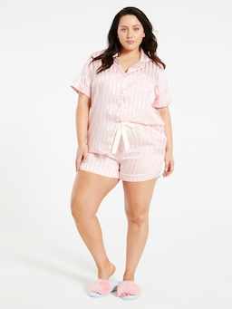 P.A. Plus Pink Stripe Chic Satin Pj Set