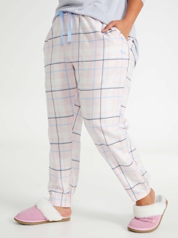 P.A. Plus Pink Check Flannelette Tapered Pj Pant