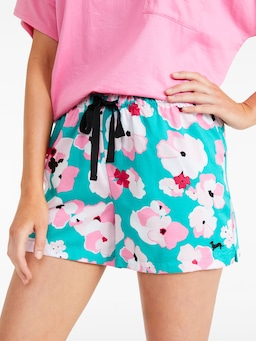 Green Floral Mid Short