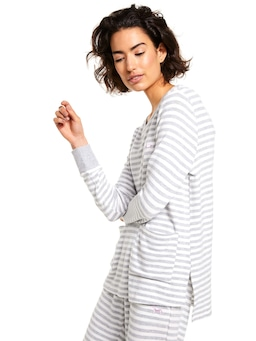 Fuzzy Stripe Pocket Top