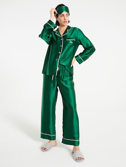 Emerald Silk Pj Set With Eye Mask