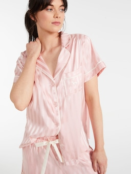 Pink Stripe Chic Satin Pj Set