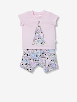 Baby Pink Sloth Christmas Pj Set