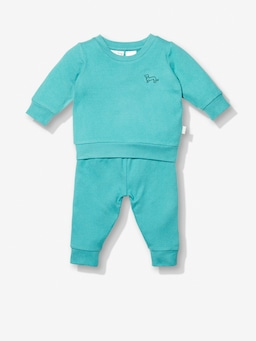 Baby Teal Fuzzy Track Pj Set