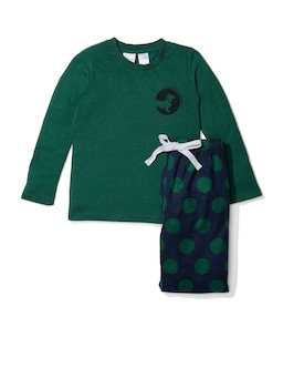 Jnr Boys Green Spot Flannelette Pj Set