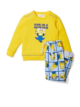 Jnr Kids Minions Grid Pj Set