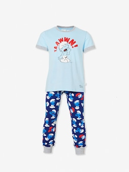 Jnr Boys Smurfs Long Pj Set