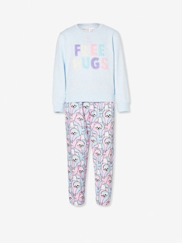 Girls Hugging Sloth Long Pj Set