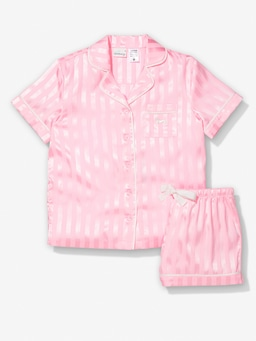 Girls Pink Lemonade Stripe Chic Satin Pj Set