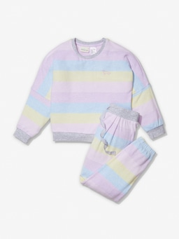 Jnr Girls Fuzzy Stripe Pj Set
