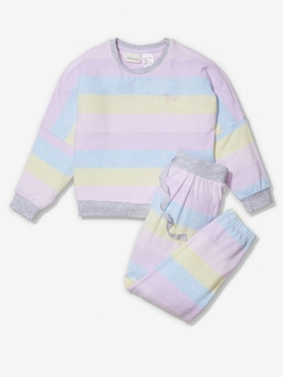 Girls Fuzzy Stripe Pj Set