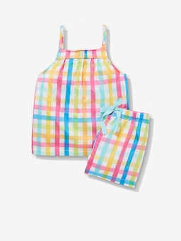 Jnr Girls Rainbow Gingham Pj Set