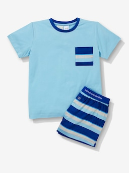 Boys Navy Stripe Pj Set
