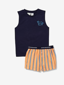Boys Orange Stripe Pj Set
