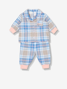 Baby Pink Flannelette Check Pj Set