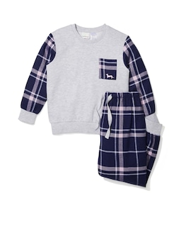 Jnr Girls Navy Check Bamboo Flannelette Pj Set