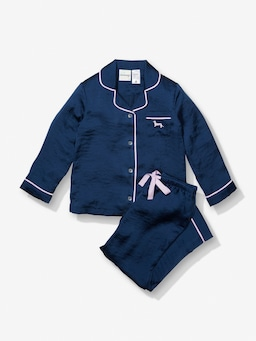 Jnr Girls Long Navy Chic Satin Pj Set