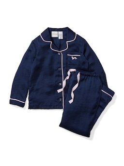 Girls Long Navy Chic Satin Pj Set