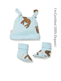 Baby 100% Organic Sloth Bootie Set