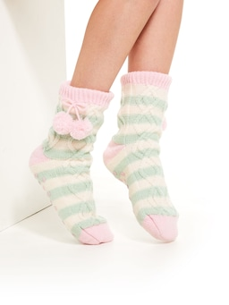 Stripe Cable Knit Sock
