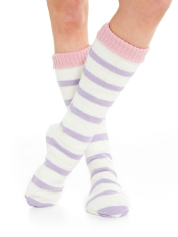Lilac Stripe High Bed Sock