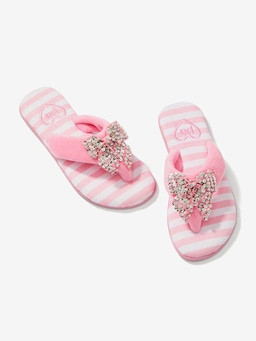 Pink Stripe Sparkle Thongs