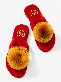 Festive Plush Towelling Thongs