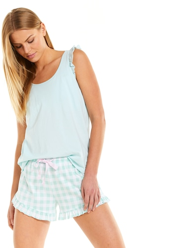 Mint Frill Tank With Shelf Bra