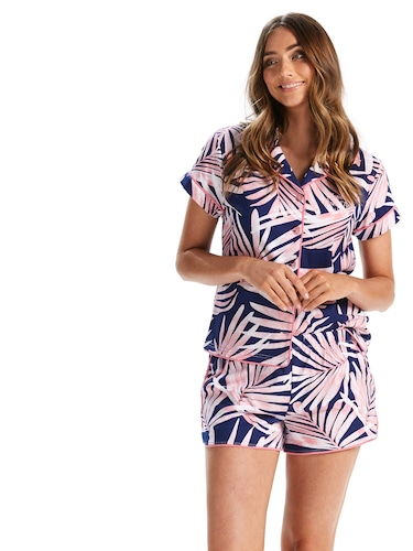 Sunset Palms Button Up Pj Set