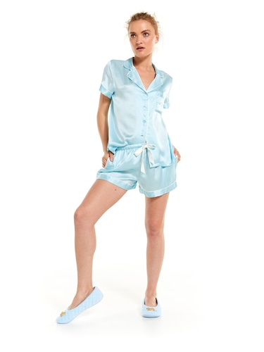 Luxe Blue Silk Shortie Pj Set