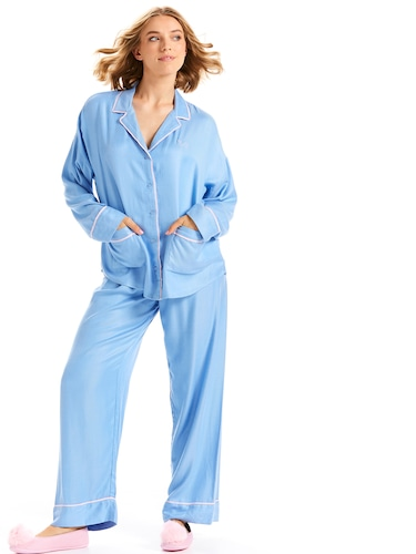 Plain Jane Blue Flannelette Pj Set