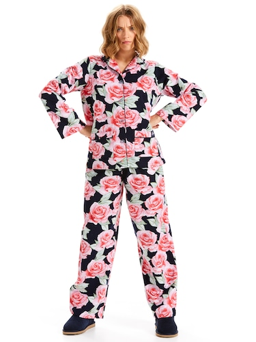 Dark Rose Classic Flannelette Pj Set
