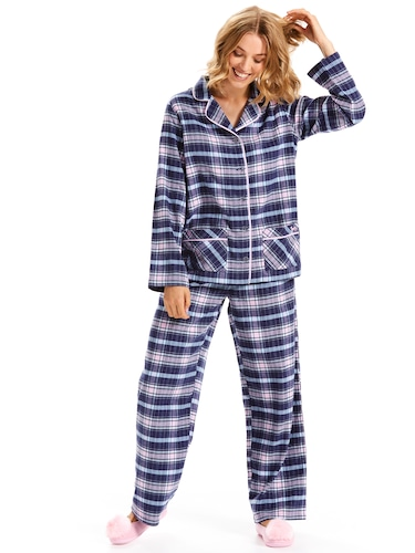 Navy Tartan You're A Star Flannelette Pj Set